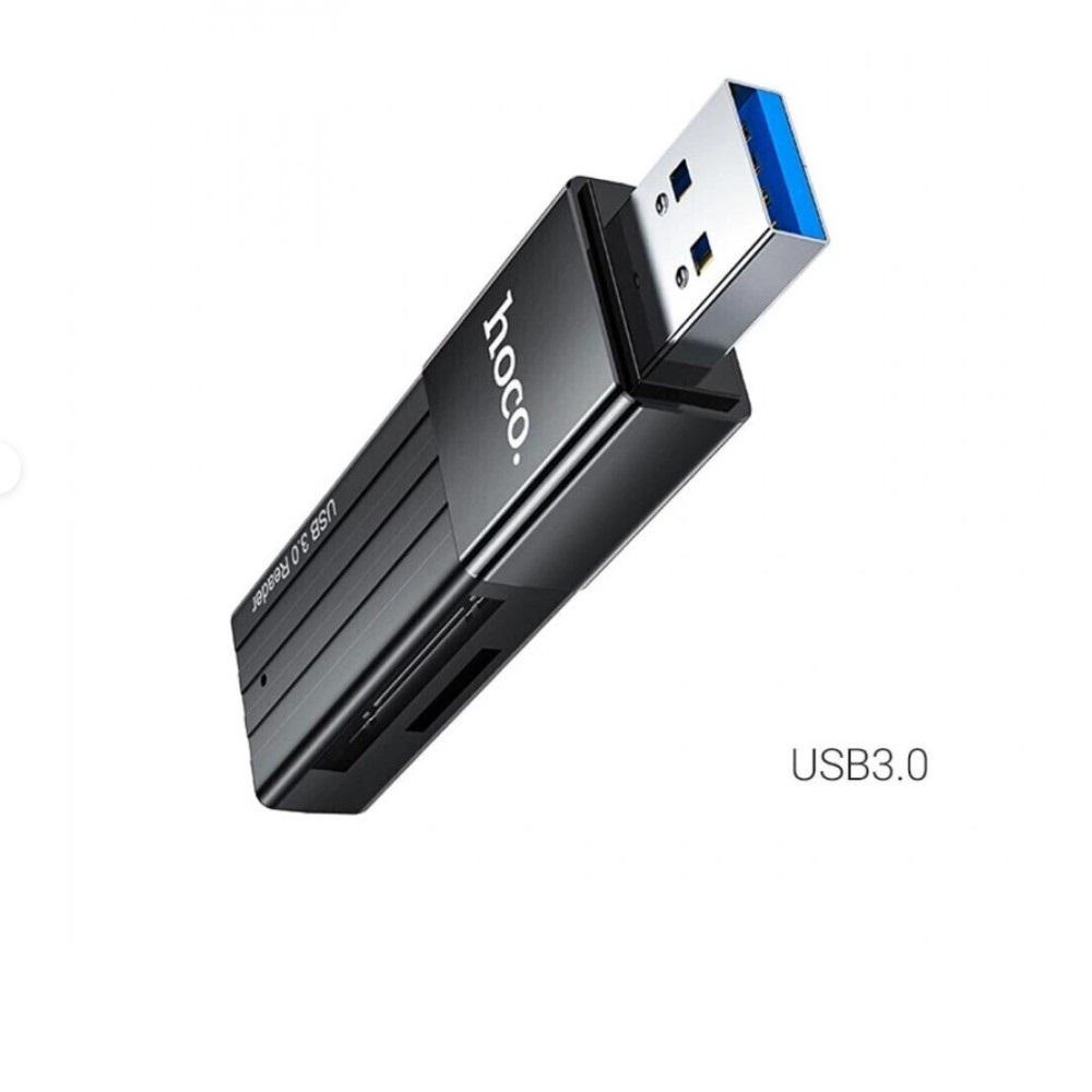 КартРидер Hoco HB20 2в1 (Micro SD/SD) USB3.0 черный