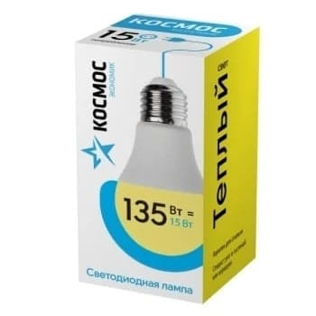 Лампа КОСМОС ЭКОНОМИК LED А60 15W 3000K E27 14406