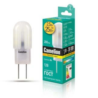 Лампа G4 Camelion LED2.5-JC-SL/830 2.5Вт 12В 3000K