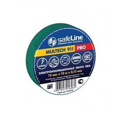 Изолента SafeLine 15/20 зеленая 05731